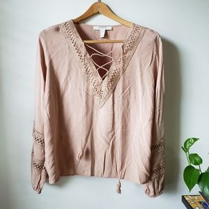 EUC FOREVER21 TAN LACED LONGSLEEVES TOP XL